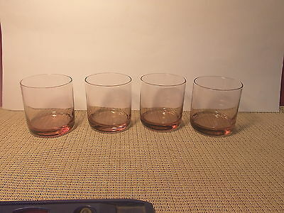 Libbey Crystal Metropolitian Plum Pattern set of 4 Juice/Rocks Glasses 3 1/2""