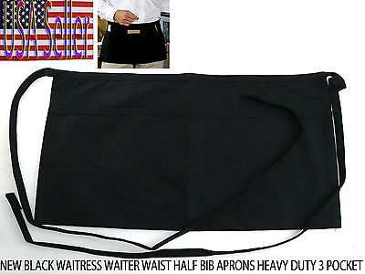 New Black Waitress Waiter Waist Half Bib Aprons Heavy Duty 3 Pocket