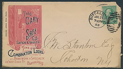 """1888 #213 ON LARGE ADVT PINK & BLACK RARE COVER """"THE CARY SAFE Co"""" BR3816 HSAM"""