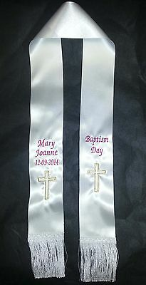BAPTISM, CHRISTENING, COMMUNION  STOLE PERSONALISED WITH EMBROIDERY 1.0 metre