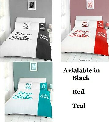 His Side & Her Side Duvet Cover and Pillowcases Bedding Set ( Black Red Teal )