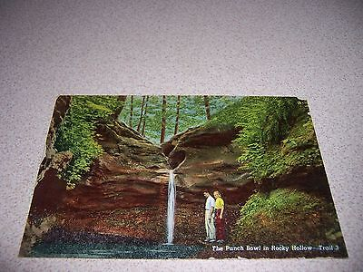 THE PUNCH BOWL ROCKY HOLLOW TURKEY RUN PARK MARSHALL INDIANA IN. LINEN POSTCARD