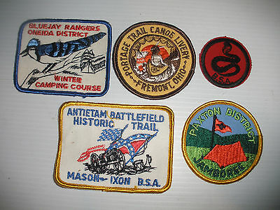 VINTAGE 1970`s BOY SCOUTS PATCHES BLUEJAY BSA PAXTON PORTAGE TRAIL MASON IXON