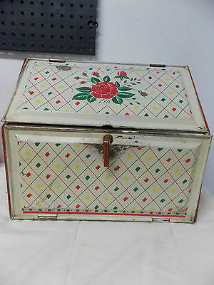 Retro Kitchen Vintage Bread Box Red with Rose Design Double Shelves