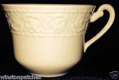 Crown Devon Fieldings & Co Florentine Off White Flat Cup 8 Oz Embossed Scrolls