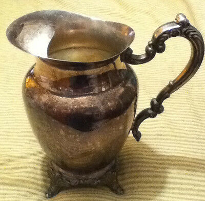 Antique Oneida Silver Plated Water Pitcher w/ Ice Lip & Feet