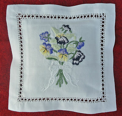 Hand embroidered lavender sachet/bag/pillow (design 1)