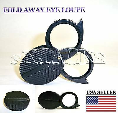 Jewelers Loupe Double Lens Fold-Away Magnifier Magnifying Glass 5X 10X Gem Coin