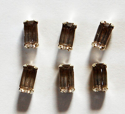 VINTAGE BLACK DIAMOND OCTAGON GLASS SEW ON GEM BEAD COSTUME 1 HOLE 8 by 4mm