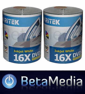 200 x Ritek Blank DVD-R media 16X 4.7GB Full Hub Printable DVD -R Discs