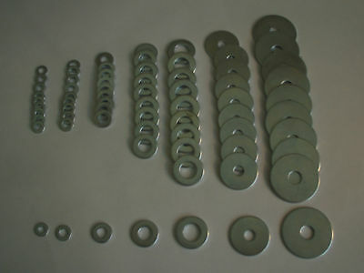 Flat Zinc Plated Penny Washer M4 M5 M6 M8 M10 you choose quantity and size