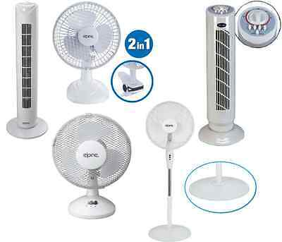 """9""""6""""16"""" Oscillating Desk Clip On Fan Stand Electric Tower Speed Cooling Cool Air"""