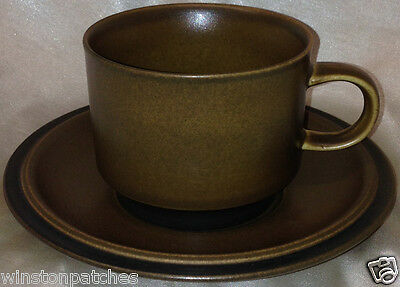 "Goebel Schwarzwald Flat Cup & Saucer 3"" Black Bands Brown Background"