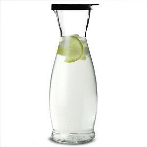 Indro Carafes with Black Cap 1ltr x 6 | Glass Water, Wine Carafes
