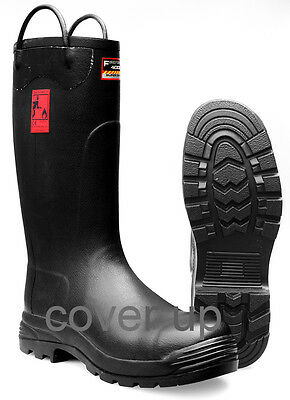 Firefighter 4000 Super Safety Industrial Black Rubber Fire Wellingtons Wellies