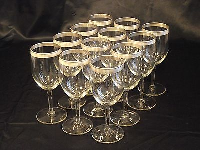 Silver Bands Vintage Stemware 12 Wine Glasses Unknown Maker