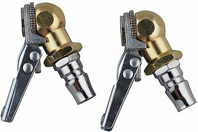 2 x Ball Tyre Chuck With Valve Stem Lock On Clip - Tire Inflator