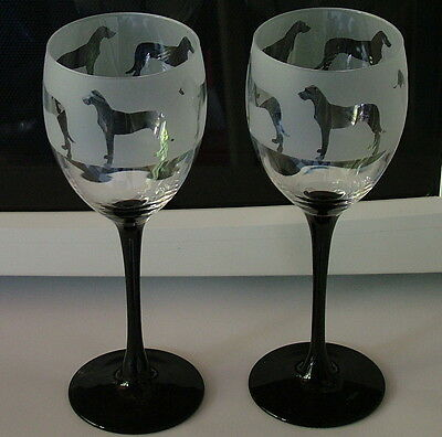 Great Dane Dog design black stem wine glasses