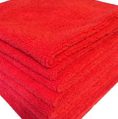48 Red Microfiber Towels New Cleaning Cloths Bulk 16X16 Manufacturers Sale
