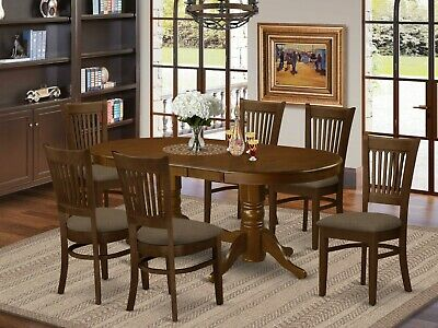 Merveilleux 7Pc Oval Dinette Dining Room Set Table +6 Microfiber Upholstered Chairs  Espresso