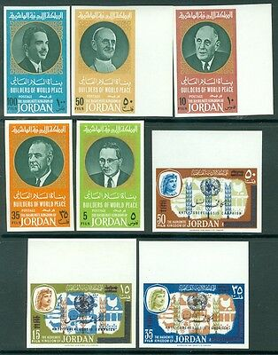 JORDAN : Group of 8 Imperforated. Very Fine, Mint Never Hinged.