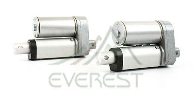 """TWO Heavy Duty 2 Inch Linear Actuator 2"""" Stroke 225 Pound Max Lift 12 Volt DC"""