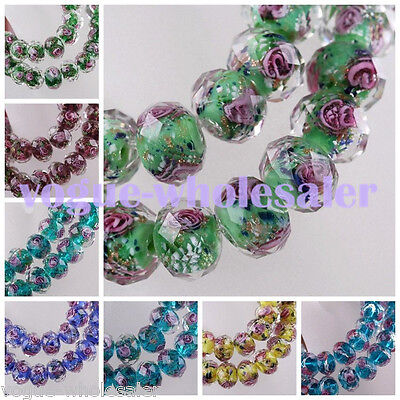 10pcs 9~10mm Flower Faceted Lampwork Glass Rondelle Charms Loose Spacer Beads