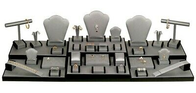 LOTS 35 Pcs GRAY&BLACK LEATHERETTE DISPLAY SET JEWELRY DISPLAY STAND SHOWCASE