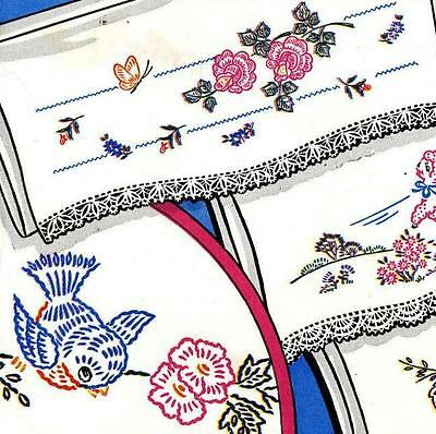 Lambs Birds Roses Mr Mrs 285 for Pillow Cases Towels iron on embroidery transfer