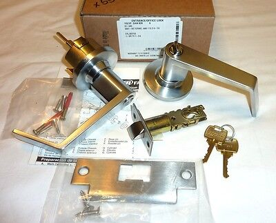 Falcon Y521P DAN 626 Dane Entry/Office Deadlock Lock Lever w/ Keys SATIN CHROME