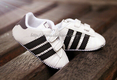 Baby Boy Black & White Stripe Soft Sole Shoes Sneaker Size Newborn to 18 Months