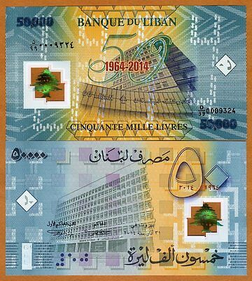 Lebanon, 50000 (50,000) Livres 2014 P-NEW Polymer UNC   Replacement