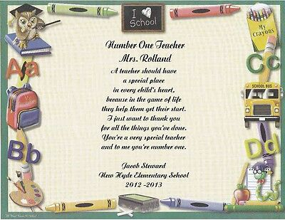 Teacher Personalized Poem Gift  Number One Teacher