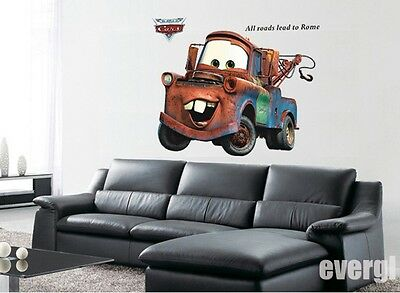 Kids Toys CARS 2 MOVIE Lightning McQueen Mater WALL DECALS Stickers Art Decor