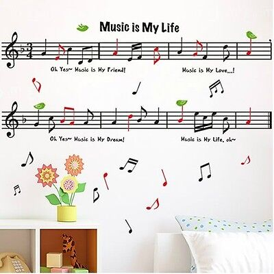 """""""MUSIC IS MY LIFE """" Mural Wall Sticker Decor Vinyl Art Decals Removable DIY l4"""