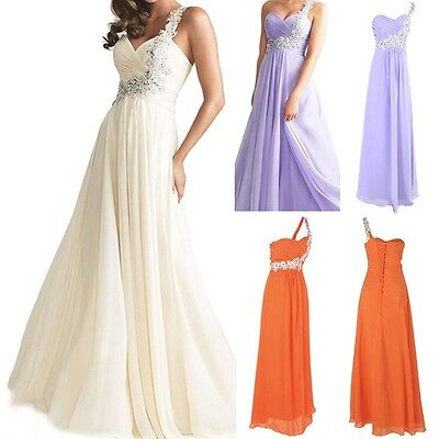 Long Evening One Shoulder Beads Gown Bridesmaid Dresses Prom Formal Party Dress