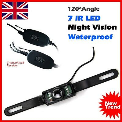 Wireless 7 IR LED Night Vision Car Rear View Reversing Number Plate Camera