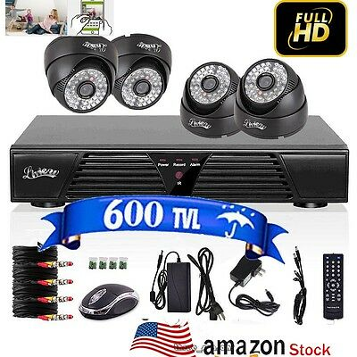 4CH Network DVR Indoor Dome 600TVL Day Night CCTV Home Security Camera System