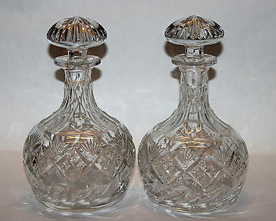 Pair ANTIQUE AMERICAN BRILLIANT CUT GLASS CRYSTAL DECANTERS Stoppers 8 1/2""