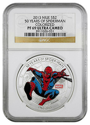 2013 Niue 1 Oz Silver Marvel 50 Years of Spiderman $2 Coin NGC PF69 UC SKU31718