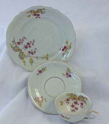 Vintage Mitterteich Bavaria China 3 PC Cup Saucer Plate Set Cherry Blossoms