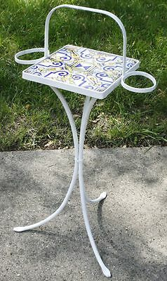 Vintage French Bistro Wrought Iron Table. Tile Top Plant / Drink Stand. RARE!