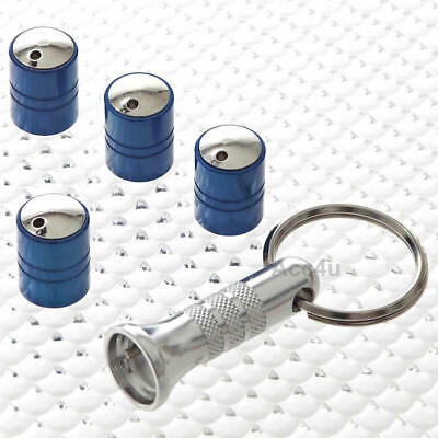 Richbrook Spinning Blue Car Anti Theft Valve Dust Caps Set Of 4 + Free
