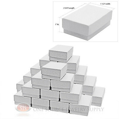 """25 Piece Cotton Filled Jewelry Gift Boxes White Swirl Design 2 5/8"""" x 1 1/2"""" x 1"""