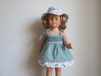 Whimsical LEAPING/JUMPING FROGS Smocked SUNDRESS & BUCKET HAT fits Chatty Cathy