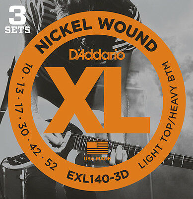 3 sets D'Addario EXL140 Light Top/Heavy Bottom Nickel Electric Guitar Strings