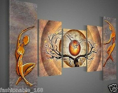 5pcs hand-painted wall art dancing abstract Landscape oil painting(With framed)