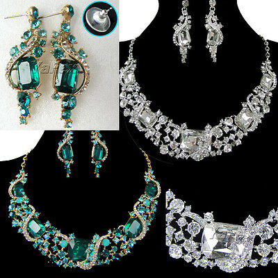 Hot Fashion Wedding Bridal Rhinestone Crystal Necklace Earring Chain Jewelry Set