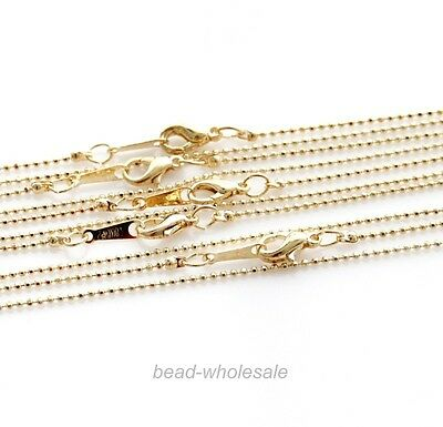 10pcs Hot 1.5mm Gold/Nickel Tone Mini Ball Linked Copper Necklace Chain Finding
