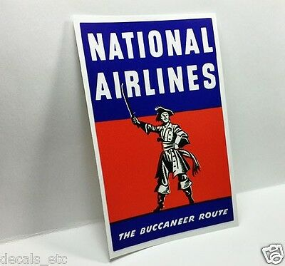 "NATIONAL AIRLINES ""Buccaneer"" Vintage Style Decal / Vinyl Sticker, Luggage Label"